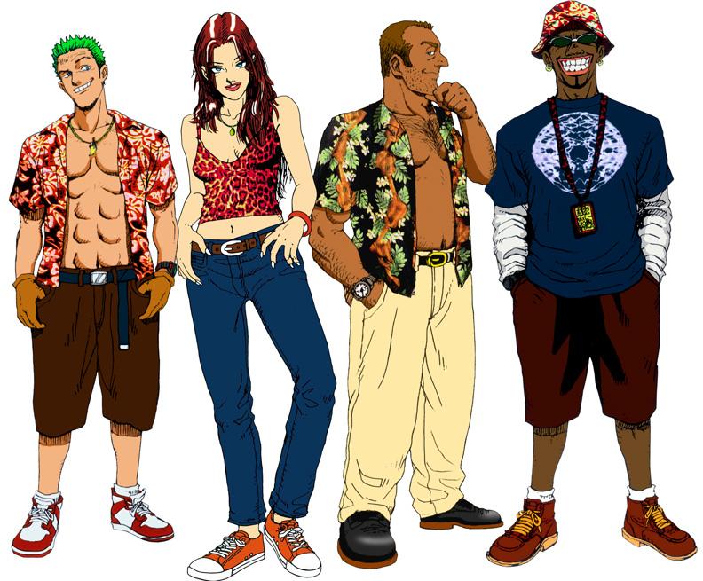 Axel, Gena, Gus e B.D. Joe, personagens de Craxy Taxi