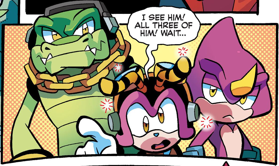 Os Chaotix são personagens recorrentes nos quadrinhos do Sonic.